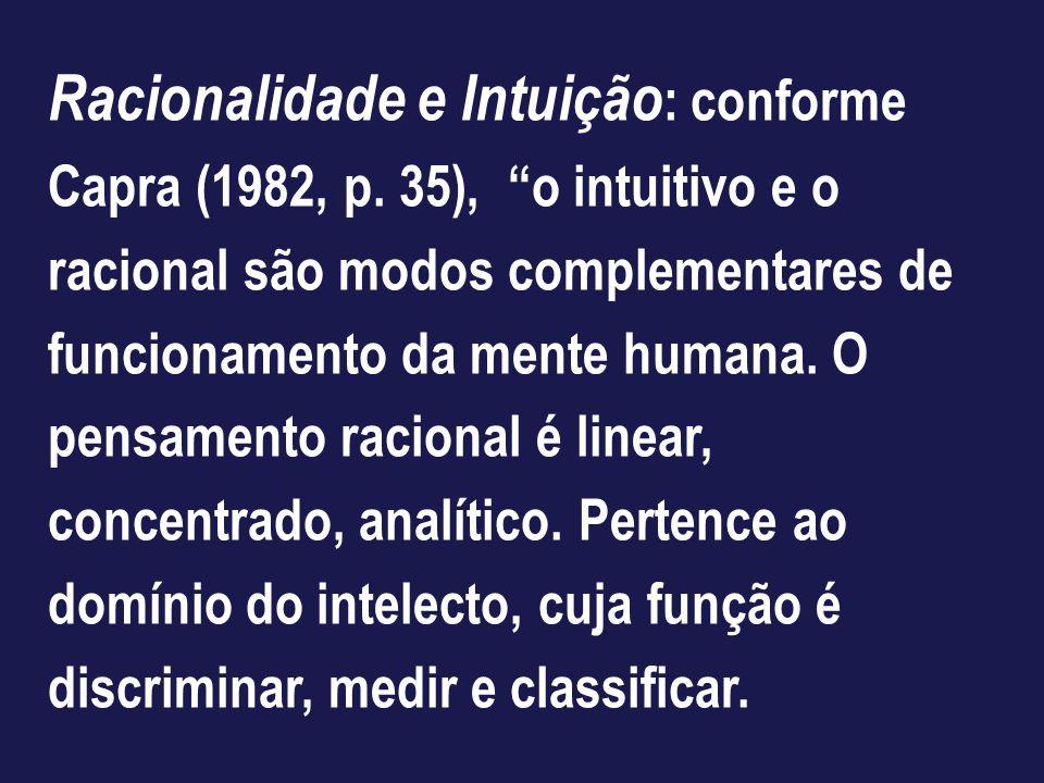 Racionalidade e Intuição : conforme Capra (1982, p. 35), o intuitivo e o racional são modos complementares de funcionamento da mente humana. O pensame