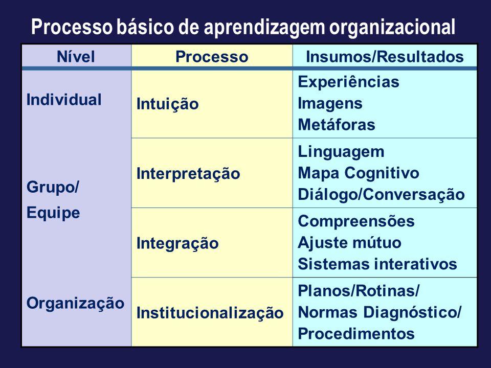 NívelProcessoInsumos/Resultados Individual Grupo/ Equipe Organização Intuição Experiências Imagens Metáforas Interpretação Linguagem Mapa Cognitivo Di
