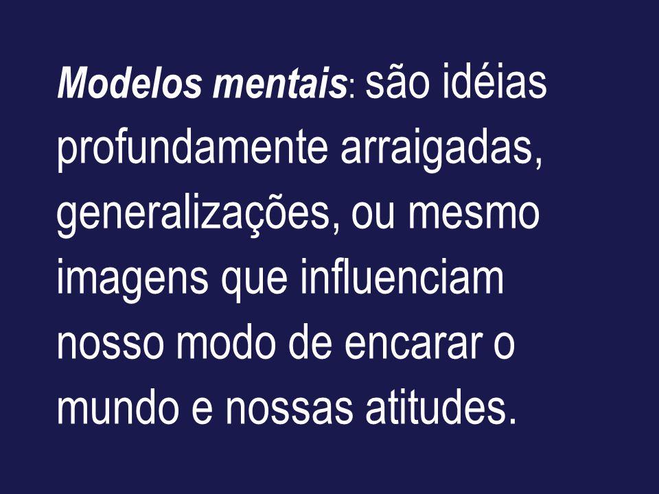 Modelos mentais : são idéias profundamente arraigadas, generalizações, ou mesmo imagens que influenciam nosso modo de encarar o mundo e nossas atitude