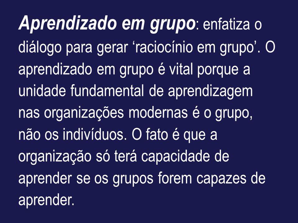 Aprendizado em grupo : enfatiza o diálogo para gerar raciocínio em grupo. O aprendizado em grupo é vital porque a unidade fundamental de aprendizagem