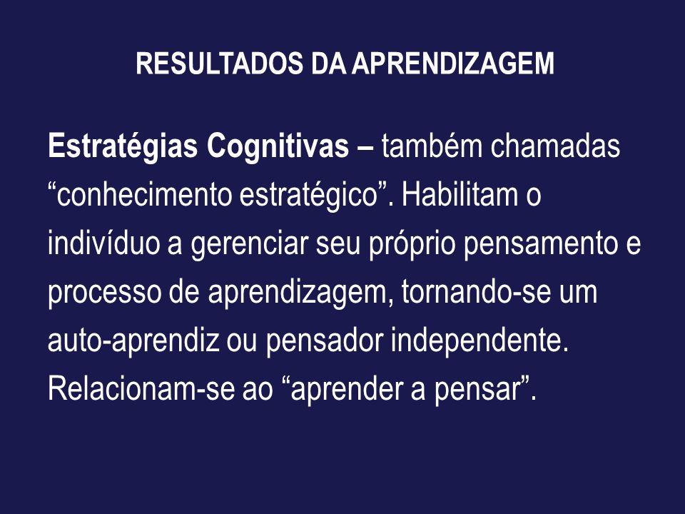 RESULTADOS DA APRENDIZAGEM Estratégias Cognitivas – também chamadas conhecimento estratégico. Habilitam o indivíduo a gerenciar seu próprio pensamento