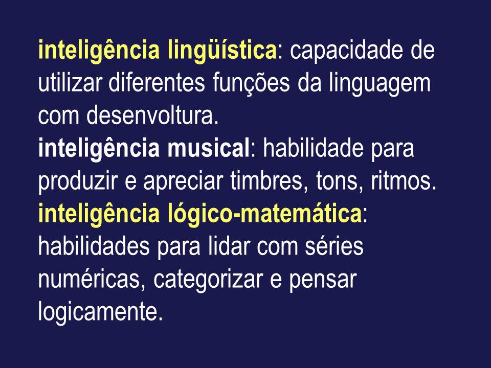 inteligência lingüística : capacidade de utilizar diferentes funções da linguagem com desenvoltura. inteligência musical : habilidade para produzir e
