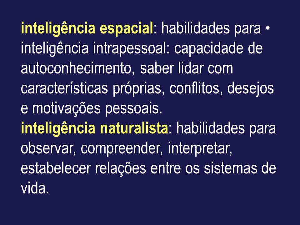 inteligência espacial : habilidades para inteligência intrapessoal: capacidade de autoconhecimento, saber lidar com características próprias, conflito