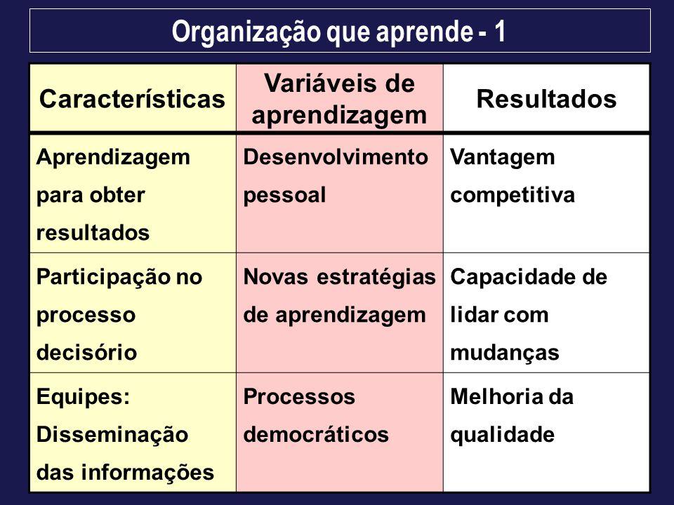 Organização que aprende - 1 Características Variáveis de aprendizagem Resultados Aprendizagem para obter resultados Desenvolvimento pessoal Vantagem c