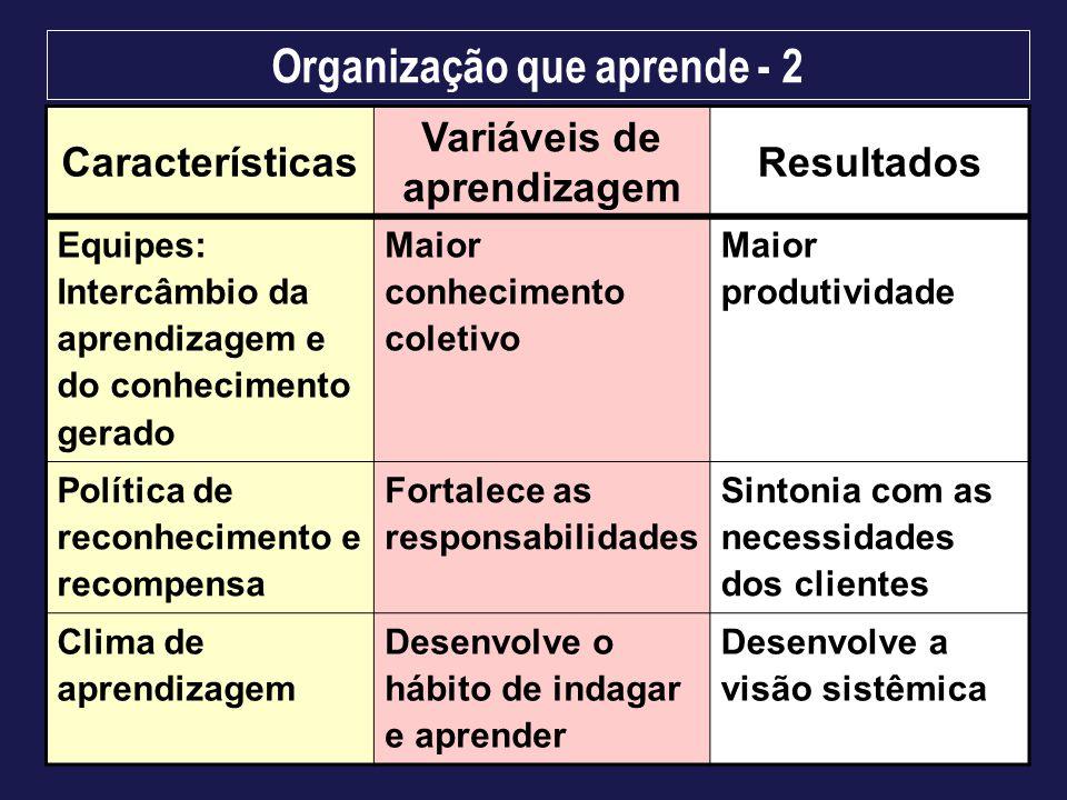 Organização que aprende - 2 Características Variáveis de aprendizagem Resultados Equipes: Intercâmbio da aprendizagem e do conhecimento gerado Maior c