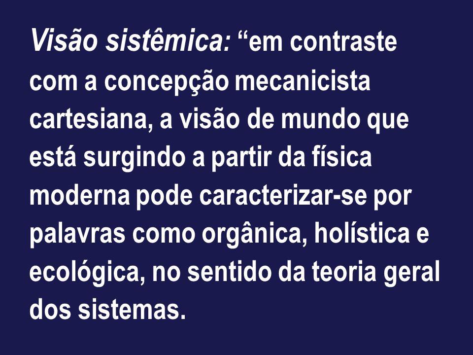 Visão sistêmica : em contraste com a concepção mecanicista cartesiana, a visão de mundo que está surgindo a partir da física moderna pode caracterizar