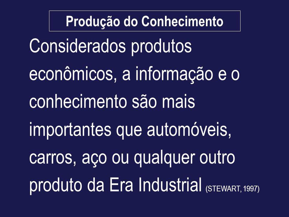 Considerados produtos econômicos, a informação e o conhecimento são mais importantes que automóveis, carros, aço ou qualquer outro produto da Era Indu