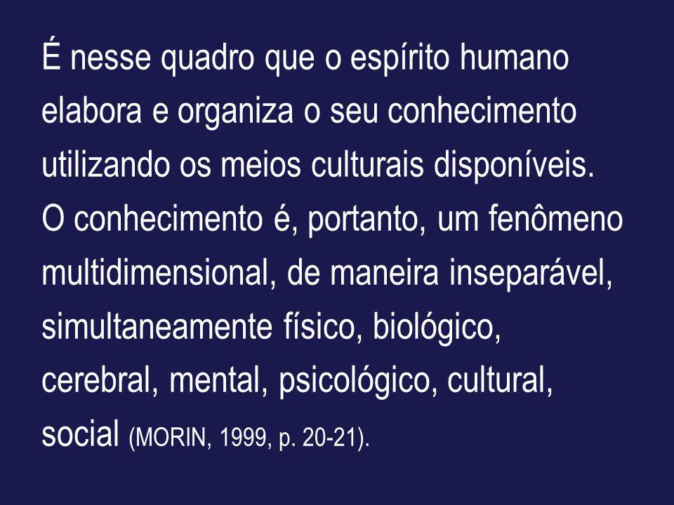 É nesse quadro que o espírito humano elabora e organiza o seu conhecimento utilizando os meios culturais disponíveis. O conhecimento é, portanto, um f