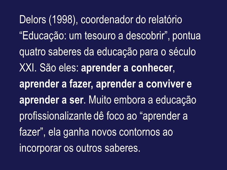 Delors (1998), coordenador do relatório Educação: um tesouro a descobrir, pontua quatro saberes da educação para o século XXI. São eles: aprender a co