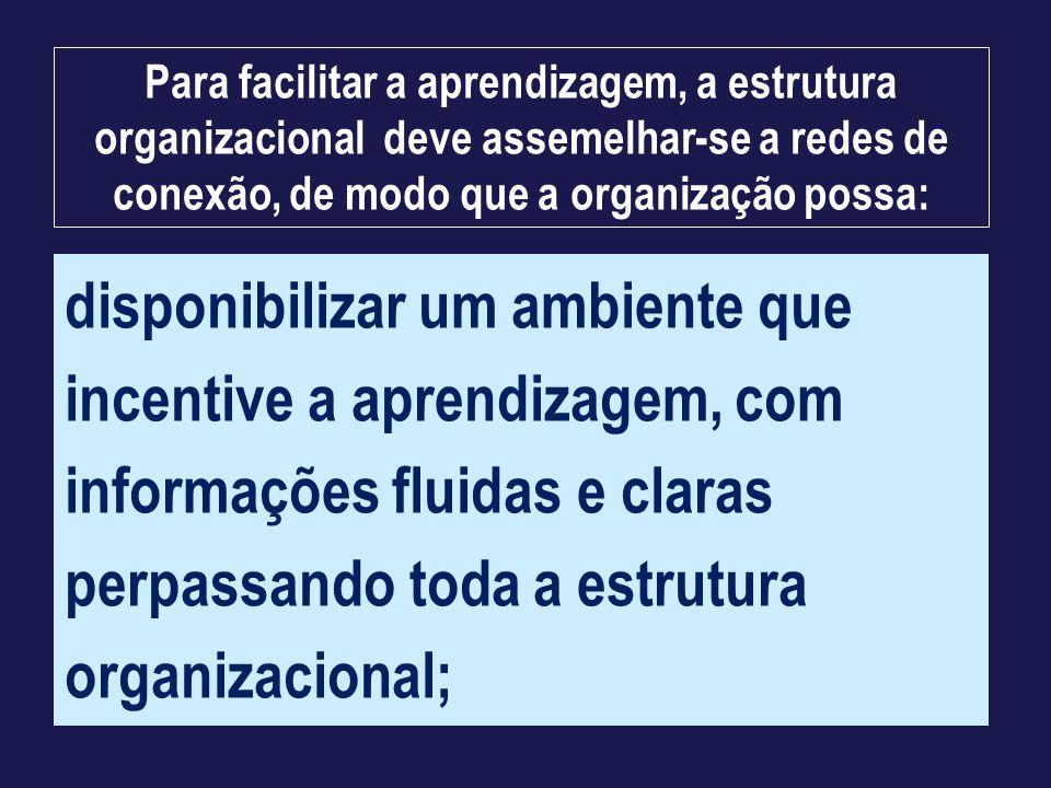 disponibilizar um ambiente que incentive a aprendizagem, com informações fluidas e claras perpassando toda a estrutura organizacional; Para facilitar