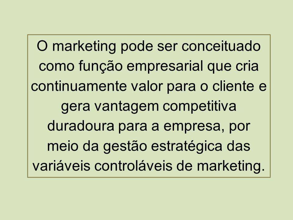 O marketing pode ser conceituado como função empresarial que cria continuamente valor para o cliente e gera vantagem competitiva duradoura para a empresa, por meio da gestão estratégica das variáveis controláveis de marketing.
