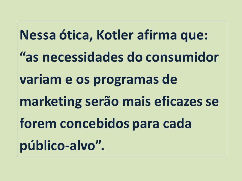 Nessa ótica, Kotler afirma que: as necessidades do consumidor variam e os programas de marketing serão mais eficazes se forem concebidos para cada público-alvo.