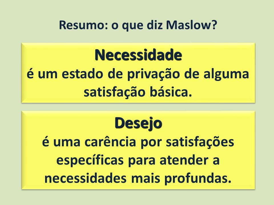 Resumo: o que diz Maslow.