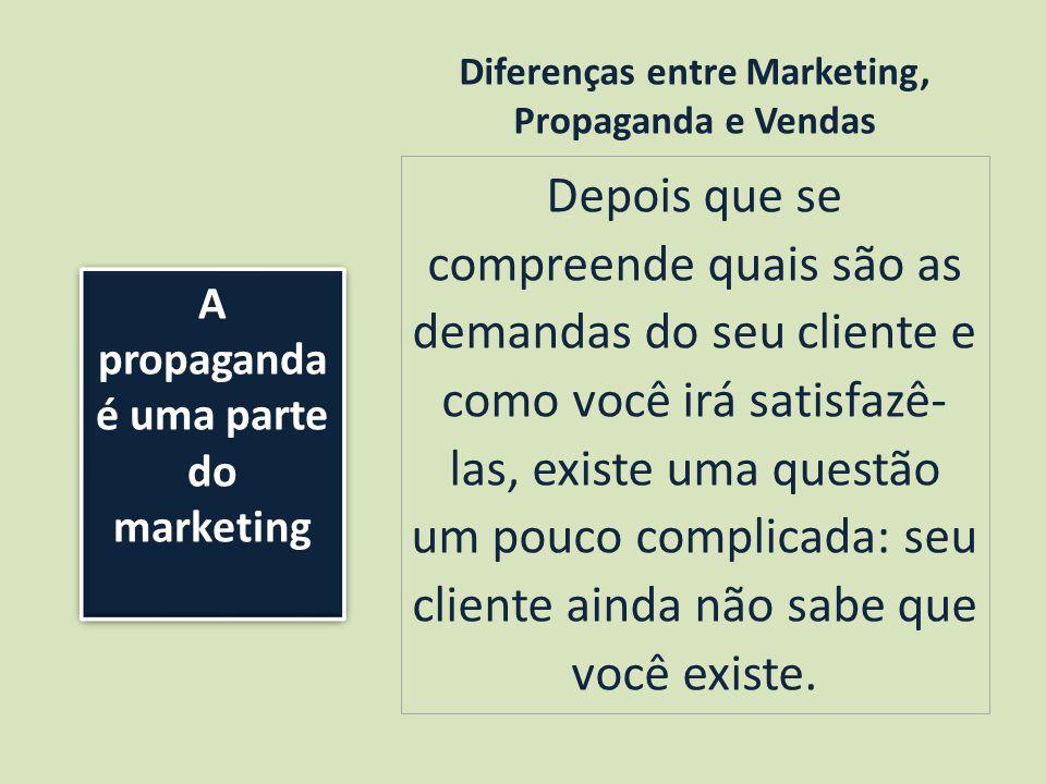 Diferenças entre Marketing, Propaganda e Vendas Depois que se compreende quais são as demandas do seu cliente e como você irá satisfazê- las, existe uma questão um pouco complicada: seu cliente ainda não sabe que você existe.