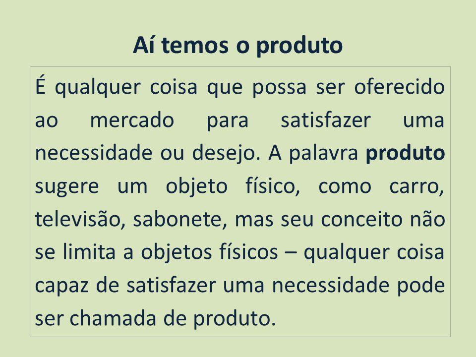 Aí temos o produto É qualquer coisa que possa ser oferecido ao mercado para satisfazer uma necessidade ou desejo.