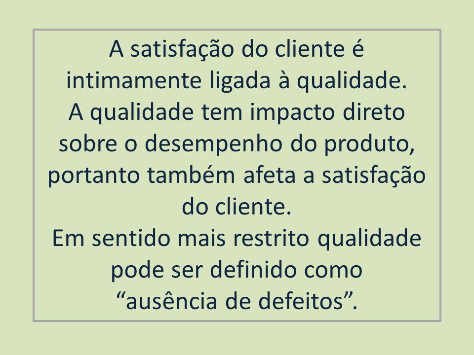A satisfação do cliente é intimamente ligada à qualidade.