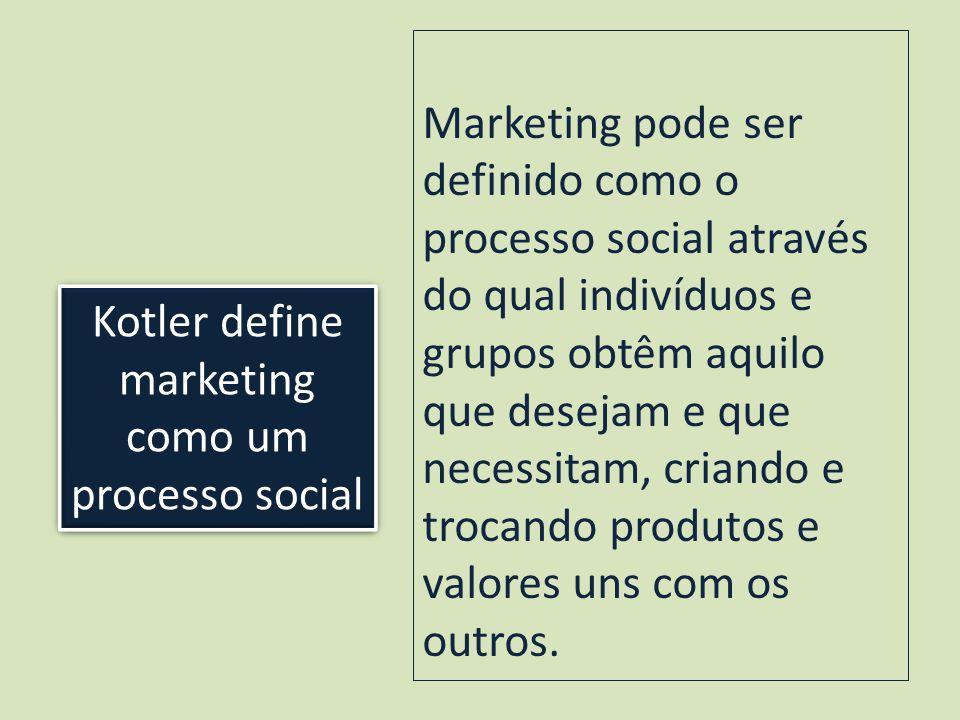 Kotler define marketing como um processo social Marketing pode ser definido como o processo social através do qual indivíduos e grupos obtêm aquilo que desejam e que necessitam, criando e trocando produtos e valores uns com os outros.