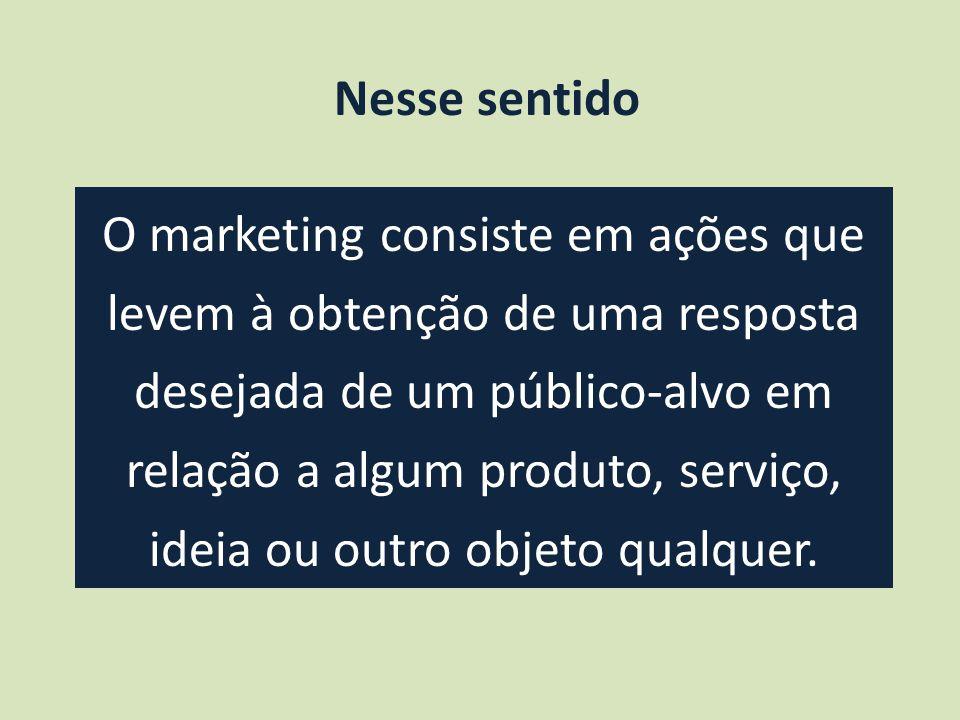 O marketing consiste em ações que levem à obtenção de uma resposta desejada de um público-alvo em relação a algum produto, serviço, ideia ou outro objeto qualquer.