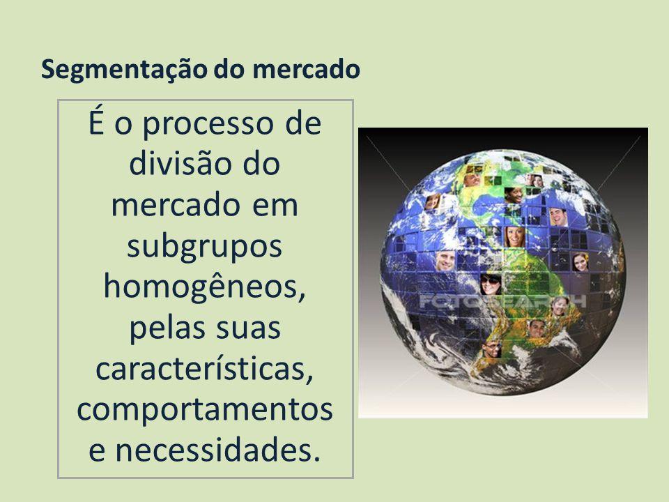 Segmentação do mercado É o processo de divisão do mercado em subgrupos homogêneos, pelas suas características, comportamentos e necessidades.