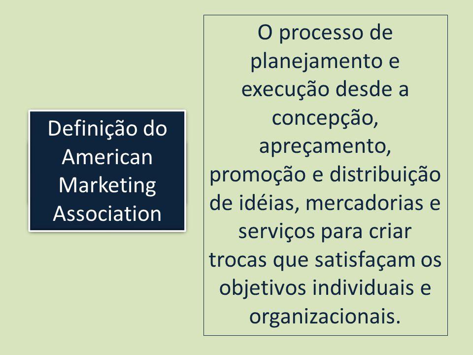 Kotler ensina que: O processo de planejamento e execução desde a concepção, apreçamento, promoção e distribuição de idéias, mercadorias e serviços para criar trocas que satisfaçam os objetivos individuais e organizacionais.