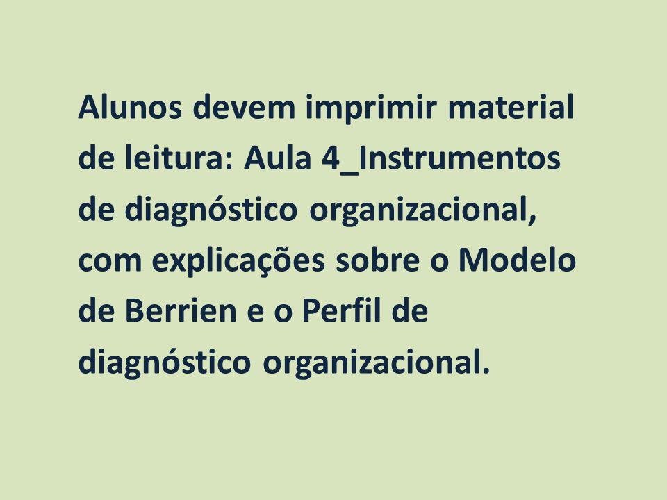 Alunos devem imprimir material de leitura: Aula 4_Instrumentos de diagnóstico organizacional, com explicações sobre o Modelo de Berrien e o Perfil de