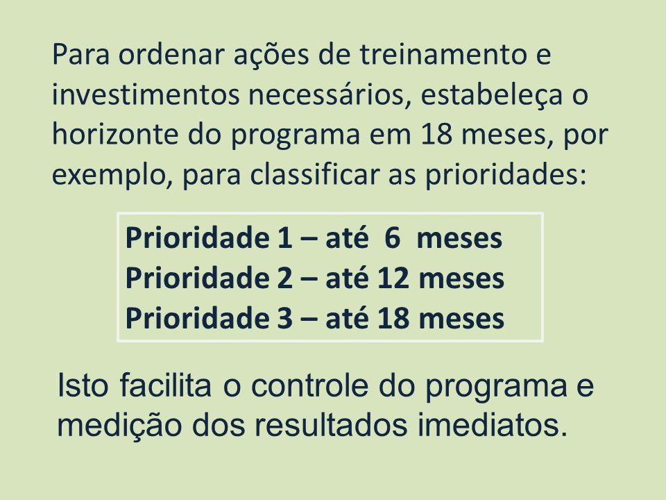 Para ordenar ações de treinamento e investimentos necessários, estabeleça o horizonte do programa em 18 meses, por exemplo, para classificar as priori