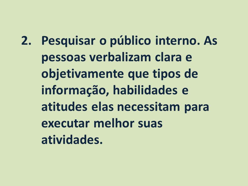 2.Pesquisar o público interno. As pessoas verbalizam clara e objetivamente que tipos de informação, habilidades e atitudes elas necessitam para execut