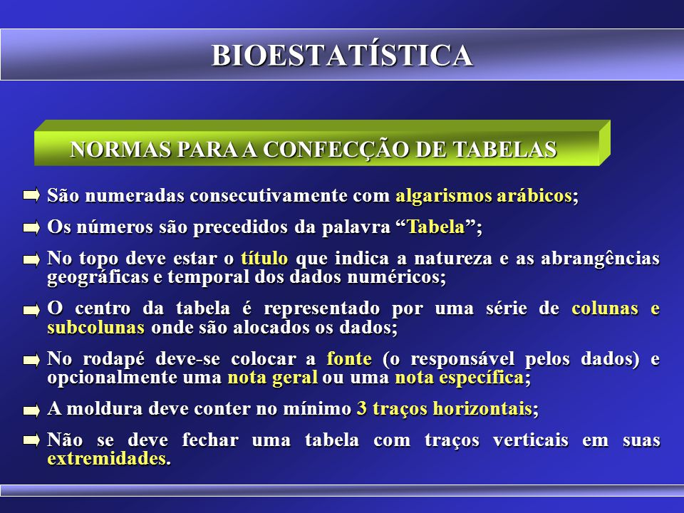 BIOESTATÍSTICA Tabela é a forma não discursiva de apresentar informações, das quais o dado numérico se destaca como informação central.