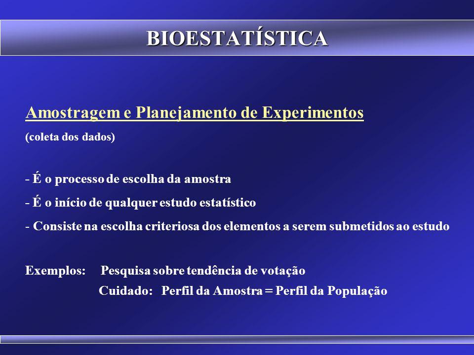 BIOESTATÍSTICA Amostragem e Planejamento de Experimentos (coleta dos dados) Estatística Descritiva (organização, apresentação e sintetização dos dados) Estatística Inferencial (testes de hipóteses, estimativas, probabilidades) Áreas da Estatística