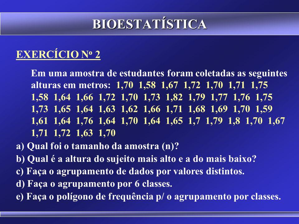 BIOESTATÍSTICA POLÍGONO DE FREQUÊNCIA x f x f 2 3 2 3 3 3 3 3 4 4 4 4 5 9 5 9 6 6 6 6 7 2 7 2 8 1 8 1 Total 28 f x 108642 2 3 4 5 6 7 8