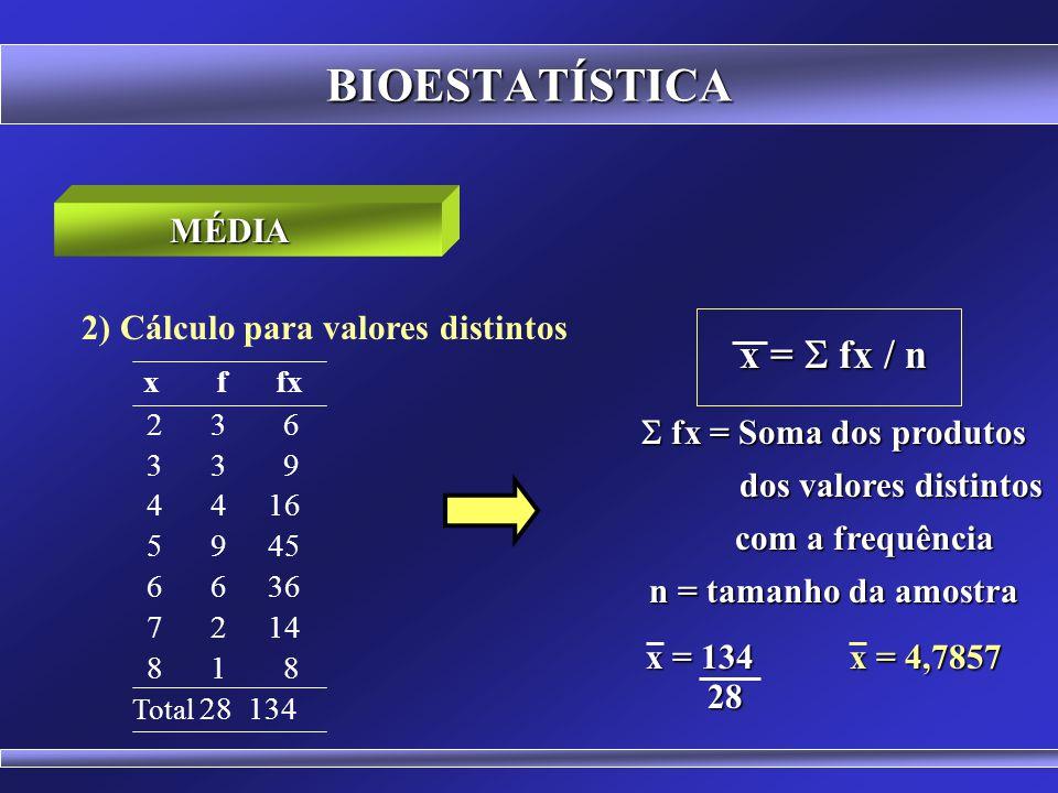 BIOESTATÍSTICA 1) Cálculo para dados simples MÉDIA x = x / n x = Soma dos valores x = Soma dos valores n = tamanho da amostra x = (16+18+23+21+17+16+19+20) 8 x = 18,75 x = 18,75 16 18 23 21 17 16 19 20