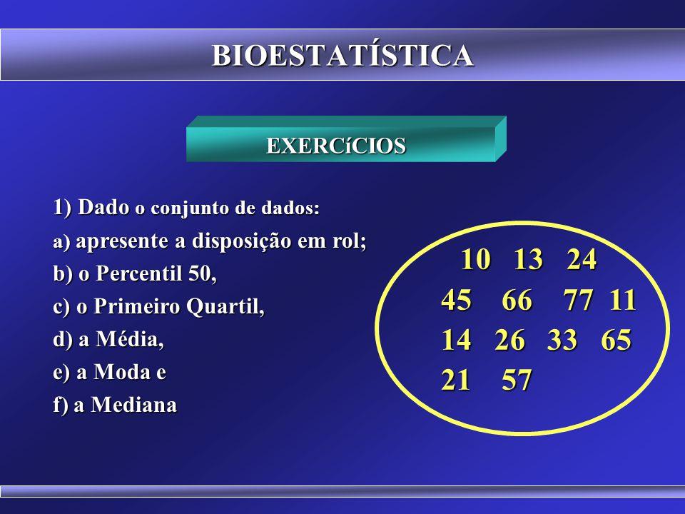 BIOESTATÍSTICA Os percentis dividem a disposição em 100 partes iguais P 1, P 2, P 3, P 4 P 5, P 6,..., P 99 P 1, P 2, P 3, P 4, P 5, P 6,..., P 99 Entre cada percentil há 1% dos dados da disposição Posição do Primeiro Percentil (P 1 ) = (n + 1) / 100 Posição do Segundo Percentil (P 2 ) = 2.(n + 1) / 100 Posição do Nonagésimo Nono Percentil (P 99 ) = 99.(n + 1) / 100 P 50 = Md P 25 = Q 1 P 75 = Q 3 PERCENTIS