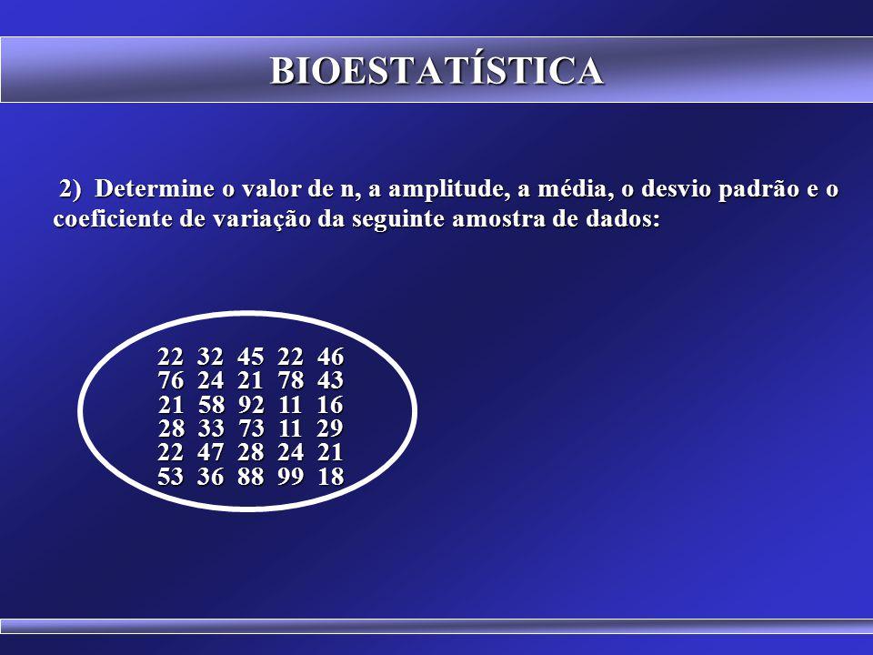 BIOESTATÍSTICA EXERCÍCIOS 1) Determine a média, a amplitude, a variância, o desvio padrão e o coeficiente de variação da seguinte amostra de dados: 1) Determine a média, a amplitude, a variância, o desvio padrão e o coeficiente de variação da seguinte amostra de dados: 4 5 5 6 6 7 7 8