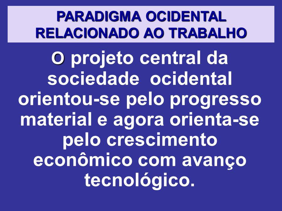 O O projeto central da sociedade ocidental orientou-se pelo progresso material e agora orienta-se pelo crescimento econômico com avanço tecnológico.