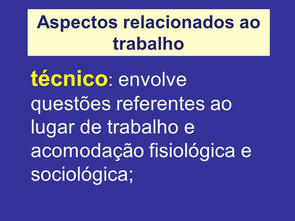 técnico : envolve questões referentes ao lugar de trabalho e acomodação fisiológica e sociológica; Aspectos relacionados ao trabalho
