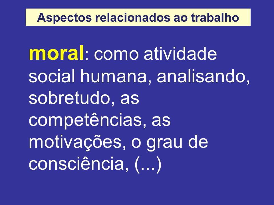 moral : como atividade social humana, analisando, sobretudo, as competências, as motivações, o grau de consciência, (...) Aspectos relacionados ao trabalho