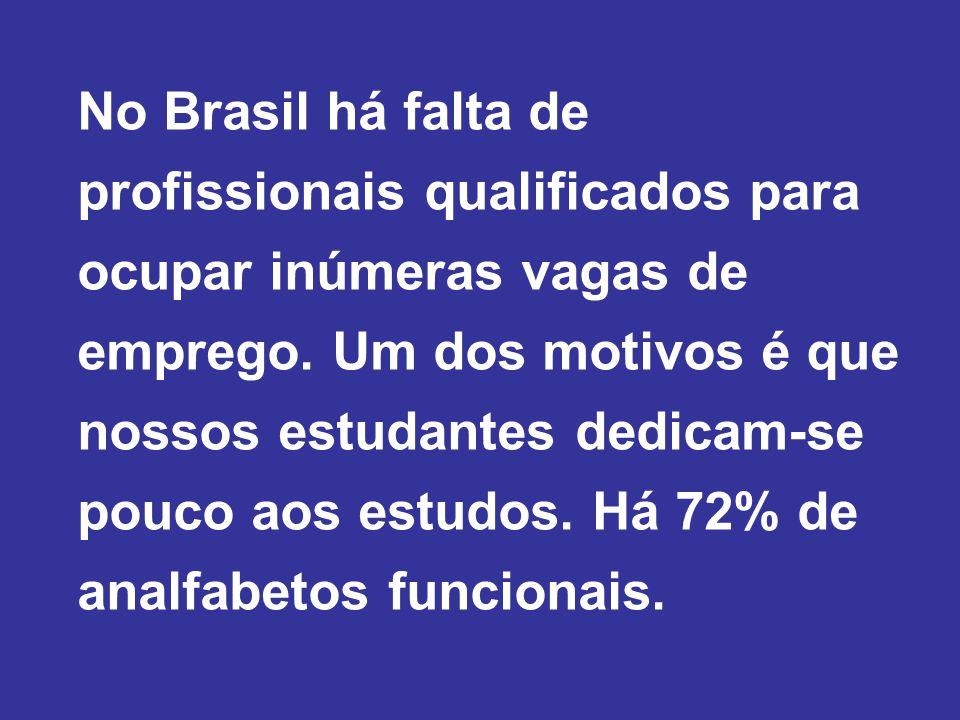 No Brasil há falta de profissionais qualificados para ocupar inúmeras vagas de emprego.