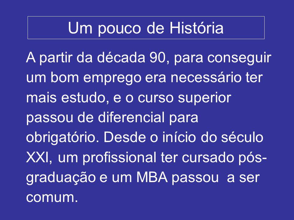Um pouco de História A partir da década 90, para conseguir um bom emprego era necessário ter mais estudo, e o curso superior passou de diferencial para obrigatório.