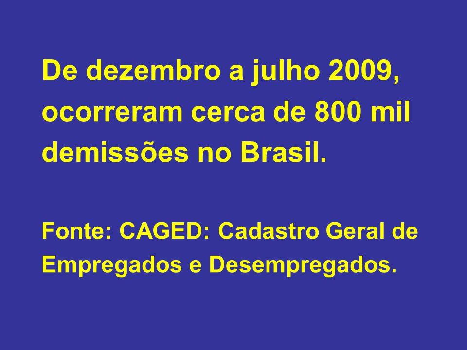 De dezembro a julho 2009, ocorreram cerca de 800 mil demissões no Brasil.