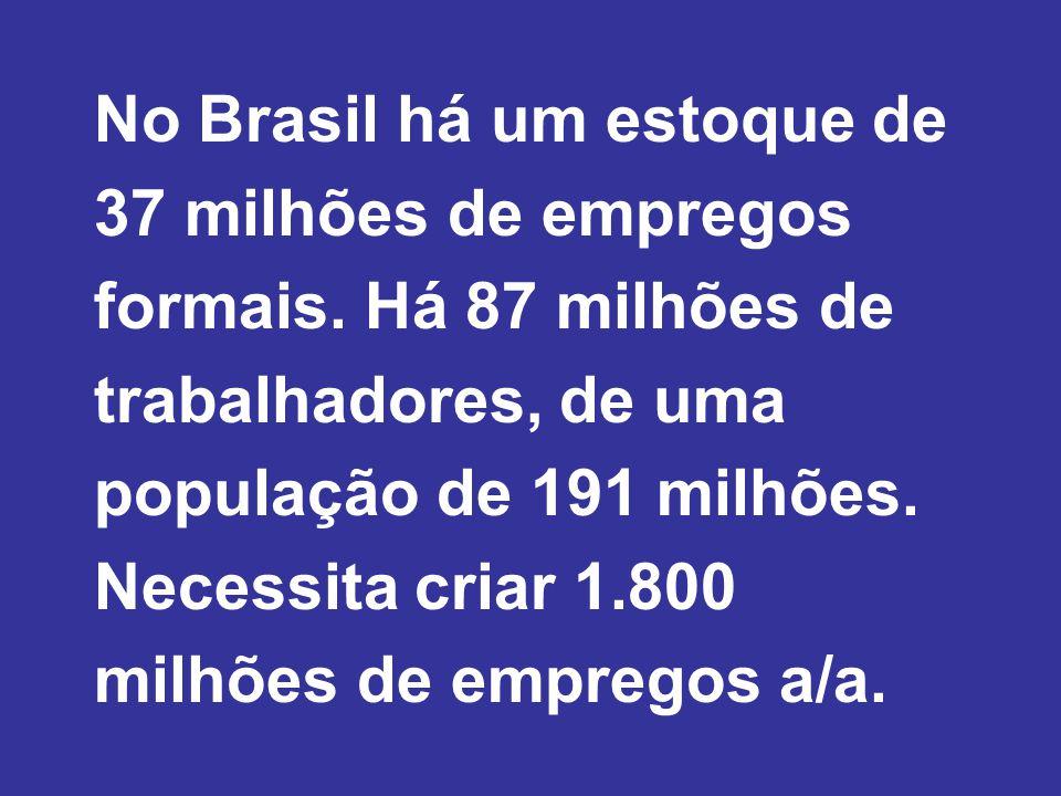 No Brasil há um estoque de 37 milhões de empregos formais.