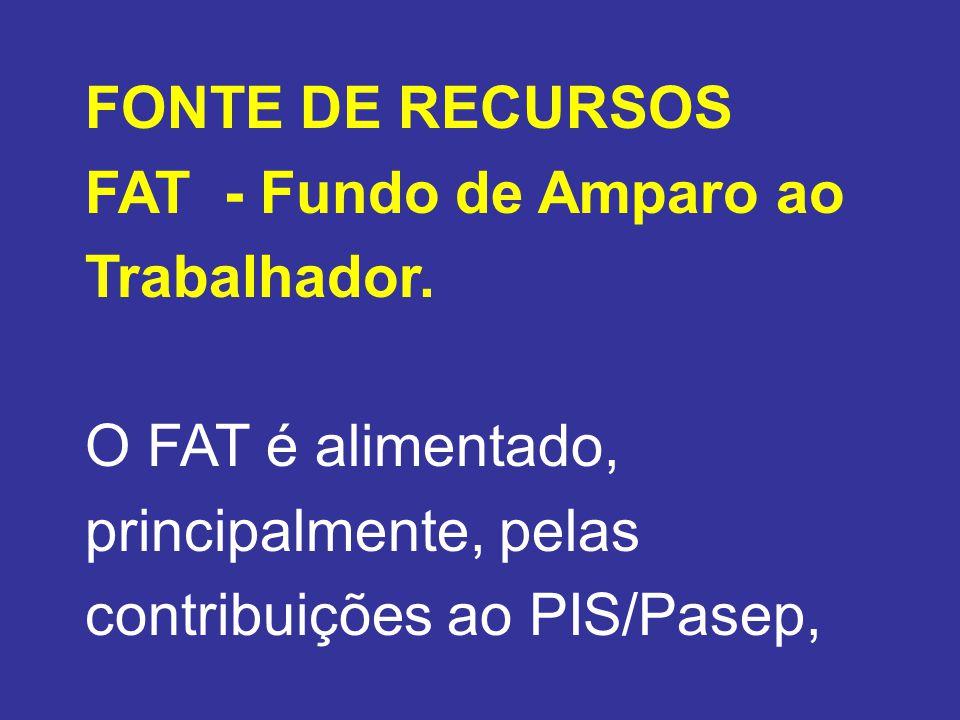 FONTE DE RECURSOS FAT - Fundo de Amparo ao Trabalhador.
