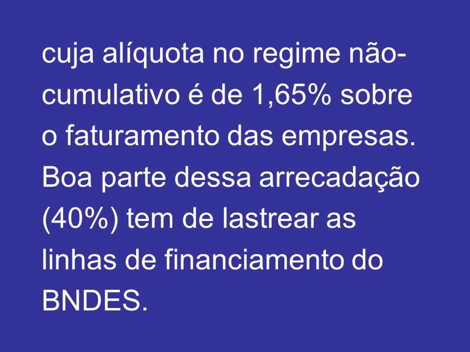 cuja alíquota no regime não- cumulativo é de 1,65% sobre o faturamento das empresas.