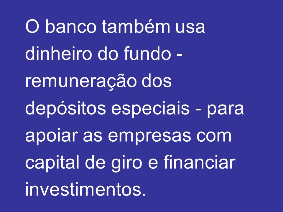 O banco também usa dinheiro do fundo - remuneração dos depósitos especiais - para apoiar as empresas com capital de giro e financiar investimentos.