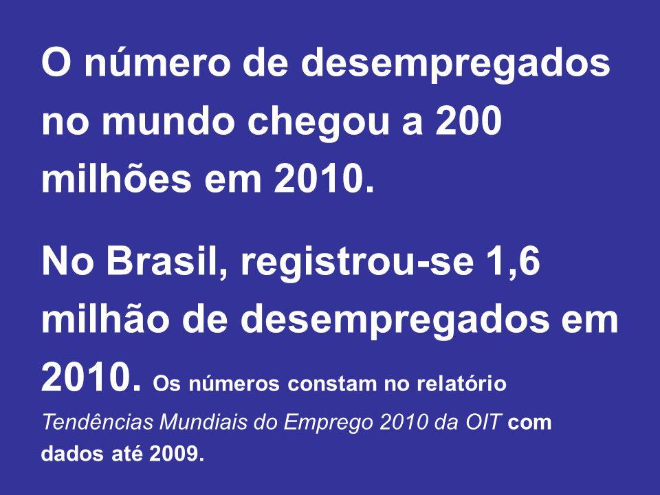 O número de desempregados no mundo chegou a 200 milhões em 2010.