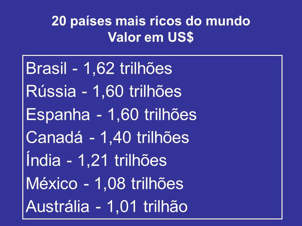 20 países mais ricos do mundo Valor em US$ Brasil - 1,62 trilhões Rússia - 1,60 trilhões Espanha - 1,60 trilhões Canadá - 1,40 trilhões Índia - 1,21 trilhões México - 1,08 trilhões Austrália - 1,01 trilhão