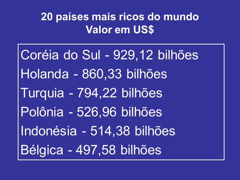 20 países mais ricos do mundo Valor em US$ Coréia do Sul - 929,12 bilhões Holanda - 860,33 bilhões Turquia - 794,22 bilhões Polônia - 526,96 bilhões Indonésia - 514,38 bilhões Bélgica - 497,58 bilhões