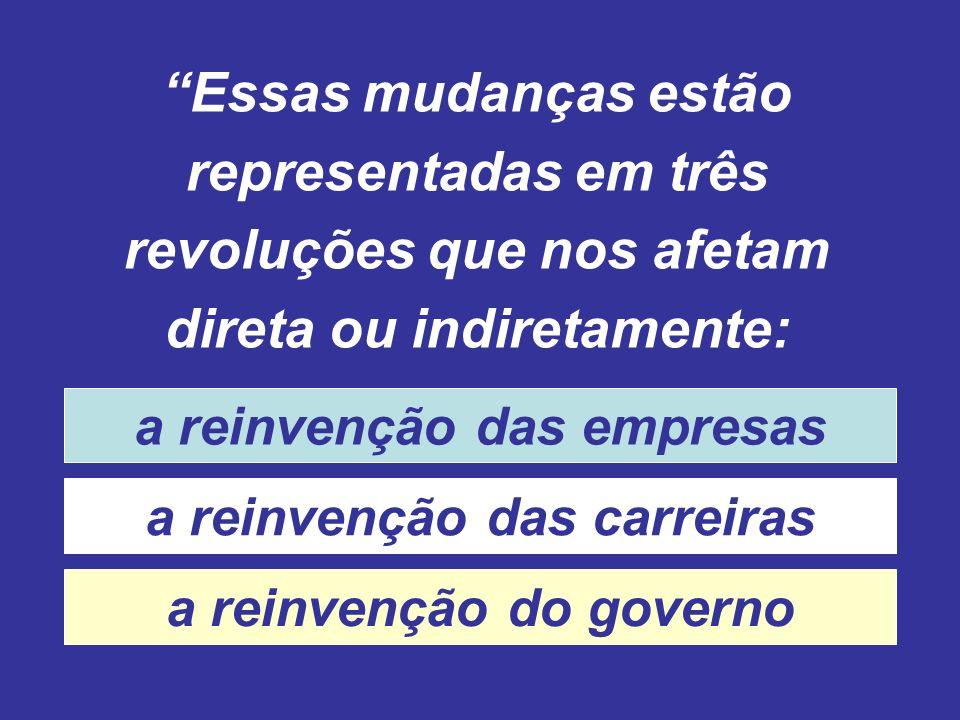 Essas mudanças estão representadas em três revoluções que nos afetam direta ou indiretamente: a reinvenção das empresas a reinvenção das carreiras a reinvenção do governo