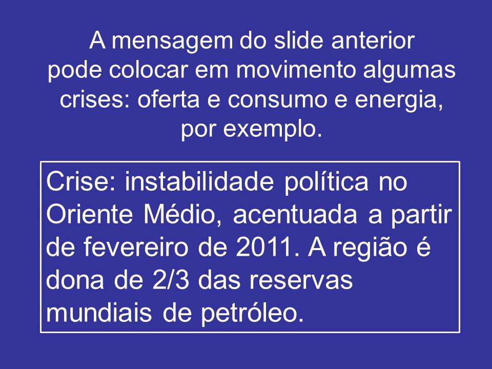 A mensagem do slide anterior pode colocar em movimento algumas crises: oferta e consumo e energia, por exemplo.