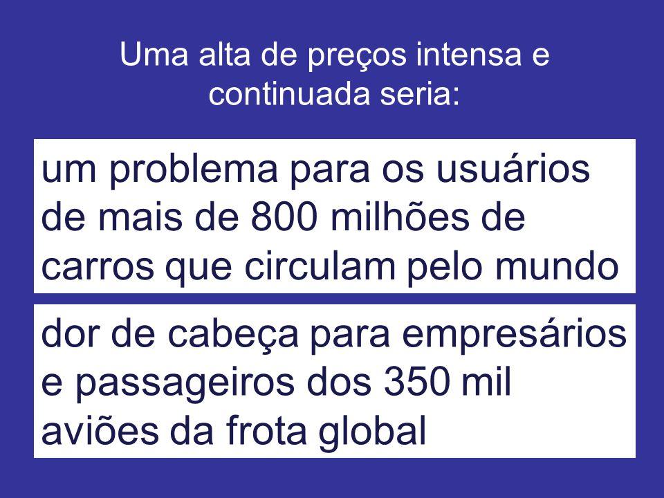 Uma alta de preços intensa e continuada seria: um problema para os usuários de mais de 800 milhões de carros que circulam pelo mundo dor de cabeça para empresários e passageiros dos 350 mil aviões da frota global