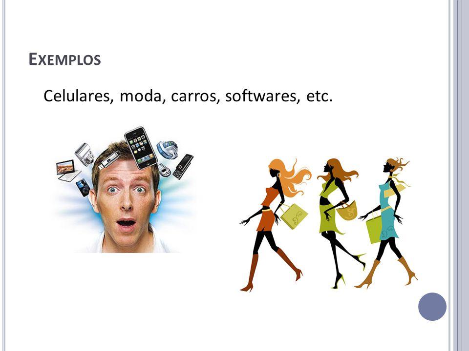 E XEMPLOS Celulares, moda, carros, softwares, etc.